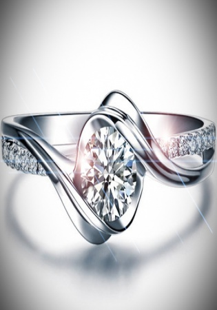 Twisted round shape diamond engagement ring 14k white gold or yellow gold art deco diamond ring