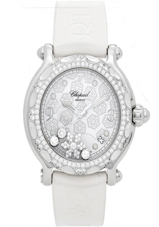Chopard happy sport snowflake stainless steel and white gold women' watch