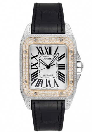 Cartier santos 100 l gold bezel diamond set automatic watch
