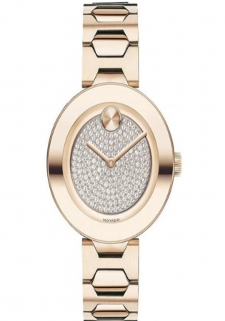 Movado bold crystal pavé rose gold tone women' watch 3600493