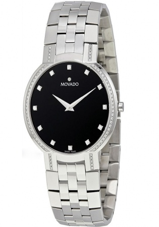 Movado faceto diamond black dial stainless steel mens watch