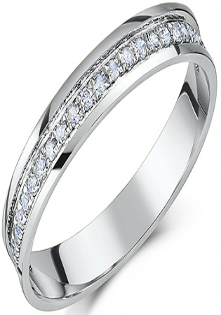 Platinum flat court diamond half eternity wedding ring