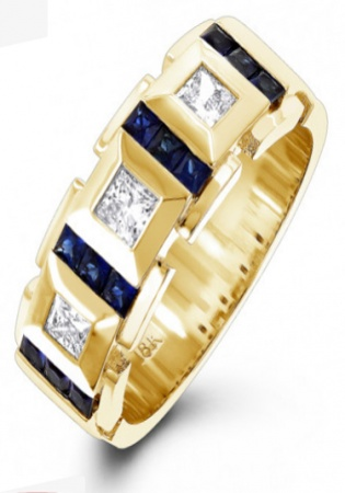 18k yellow gold unique diamond and sapphires band for men italy