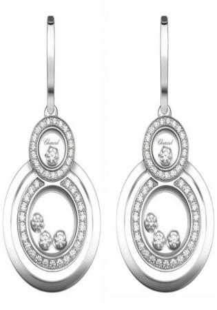 Chopard happy 8 diamond & 18k white gold drop earrings women's