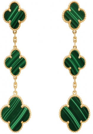Van cleef & arpels diamond 18k yellow gold magic alhambra earrings 3 motifs