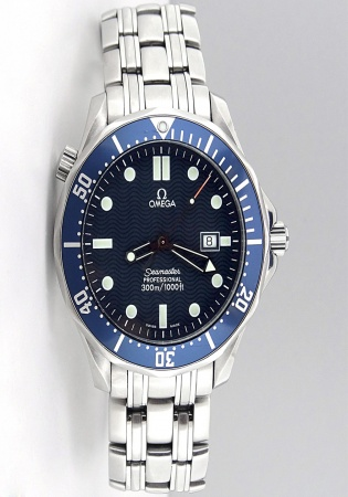 Omega seamaster professional full-size diver with blue wave dial