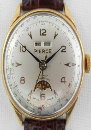 Pierce full triple calendar moonphase vintage watch manual winding