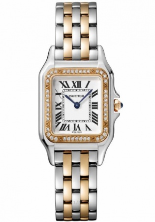 Cartier panthere natural diamond 18k gold ss quartz