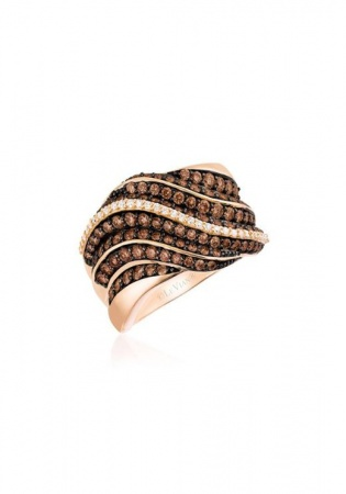 Le vian 14k gold strawberry chocolatier chocolate & vanilla diamond pleated ring