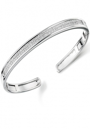 Lance james 9ct white gold 2.00ct princess cut diamond cuff bangle