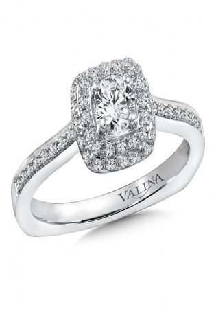 Sk usa diamond halo engagement ring mounting in 14k white gold 29 ct. tw