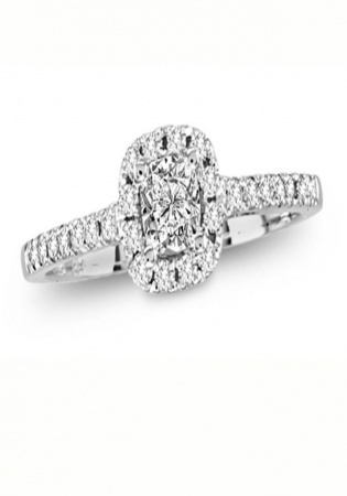 Christian dior 1/2 ct. t.w. round-cut diamond halo engagement ring in 14k white gold