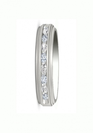 Men's 1/2 ct. t.w. diamond channel milgrain band in 14k white gold made by zales