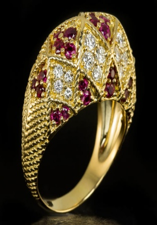 1.50ct ideal cut f vvs diamonds ruby cocktail ring vintage 18k gold