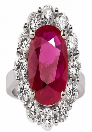 18k natural 4.42 ruby and diamond halo ring