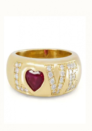 Chopard ruby and diamond 'love' ring in 18k gold