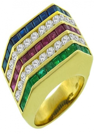 Princess cut 1.20ct diamond ruby emerald sapphire ring 18k yellow