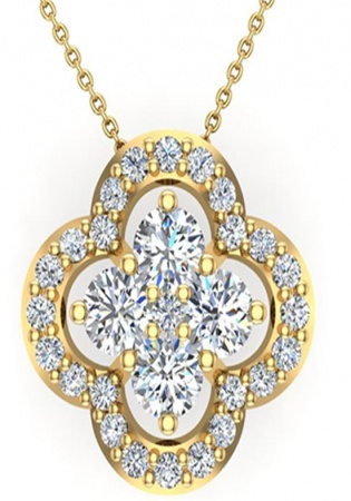 0.80 ct tw loop style flower cluster diamonds necklace 18k gold g,vs