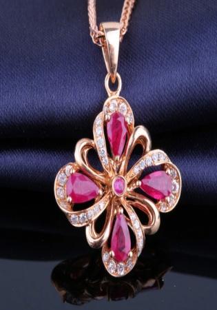 Ruby natural ruby flower for women 18k rose diamond pendant necklace