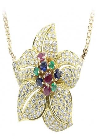 18k yellow gold emerald ruby sapphire flower pendant 14k yellow gold chain