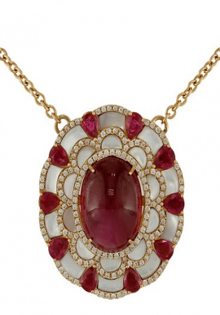 18k rose gold rubellite ruby diamond & mother of pearl bloom pendant necklace
