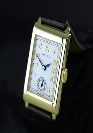 "Rolex art deco 9k gold ""railway"" 1934"