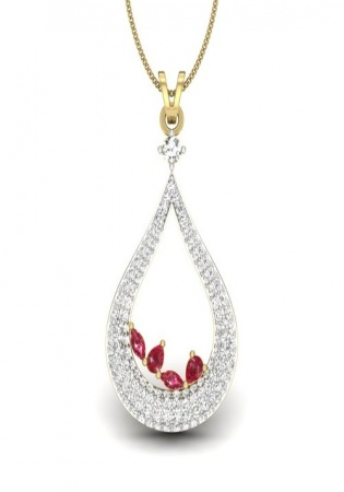 Red ruby gem stone with diamond pendant 18k yellow gold 1.48 ct ij-si