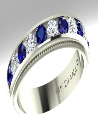 Milan ruby diana diamond sapphire blue anniversary band ring 14k wg