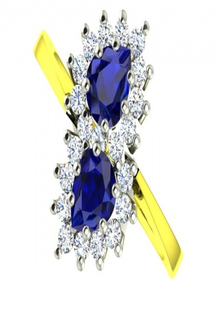 Milan sapphire two cluster pear cut sapphire diamond vintage ring 14k gold