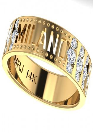 Milan ruby art deco diamond band ring 585 yg