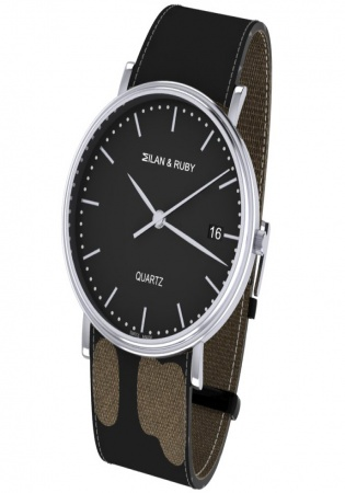 Milan & ruby stainless steel quartz men's watch