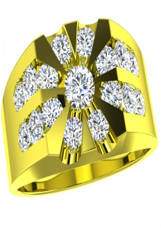 14k yellow gold men's cluster diamond ring 1.0 ctw by smg