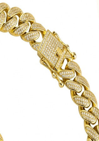 18k yellow gold plated silver mens lab created stones cuban link bracelet