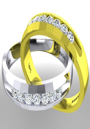 Milan & ruby 14k gold men's diamond channel set band ring 2/3 ctw