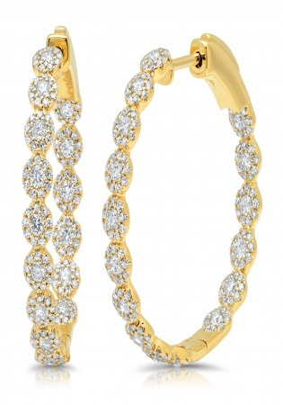 1.58ct 14k yellow gold diamond hoop earring