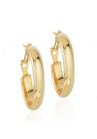 14k yellow gold omega back hoop earrings