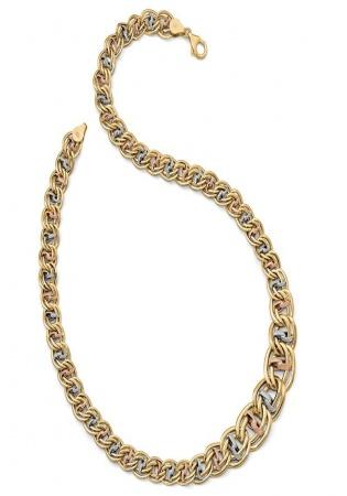 Leslie's leslie's 14k tri-color polished & textured fancy link necklace