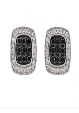 Jason of beverly hills black & white diamond 14k stud earrings