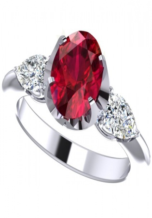Milan ruby 0251 tri-stone pear cut diamond vintage ring pt1000