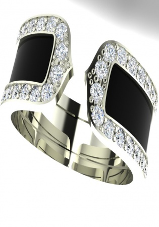 Cartier double c decor diamond black lacquer 18k white gold