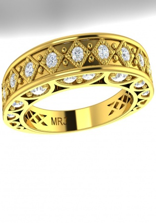 Milan & ruby pave diamond milgrain style-vintage ring 14k yellow gold