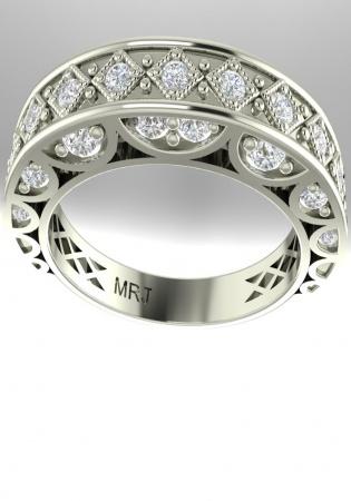 Milan & ruby pave diamond anniversary milgrain band style-vintage ring 14k gold white