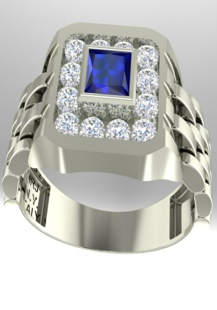Milan & ruby diamond blue sapphire watch style design-vintage ring 18k white gold
