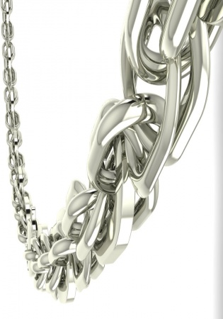 Milan & ruby luxurios men link chain 18k white gold made in italy