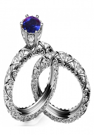 Unique sapphire diamond braided pavé engraving matching wedding band in 18k white gold