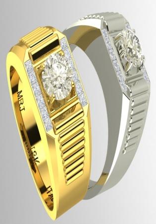 Milan & ruby 18k gold diamond 5mm channel set men' ring side ribbed