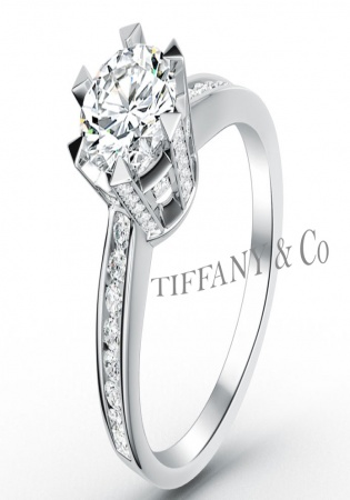Pt900 fine round diamonds set royal crown six-prongs channel solitaire vitntage-style ring