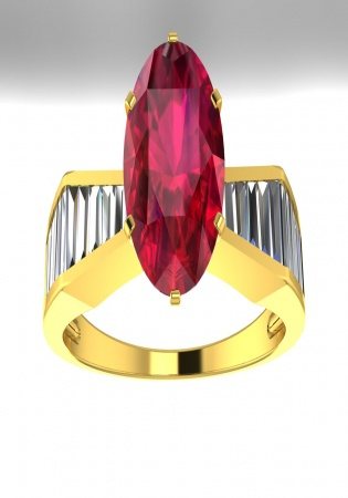 Milan & ruby diamond baguette ruby oval vintage-style ring 18k yellow gold