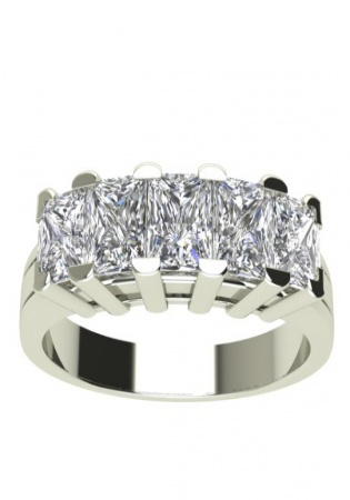 Tiffany & co peretti 5-stone princess diamond band ring platinum