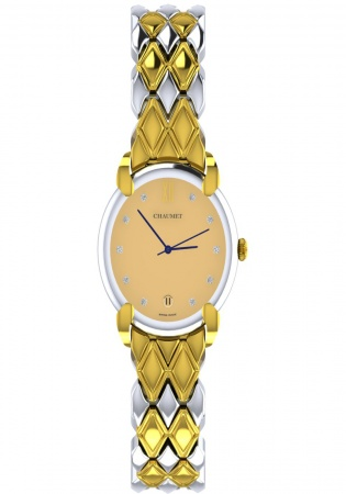 Chaumet elysees diamond quartz watch 18k yellow gold /ss white dial
